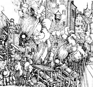 Erstürmung einer Stadt (Detail eines Stichs aus dem späten 15. Jahrhundert)